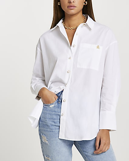 White long sleeve boyfriend shirt