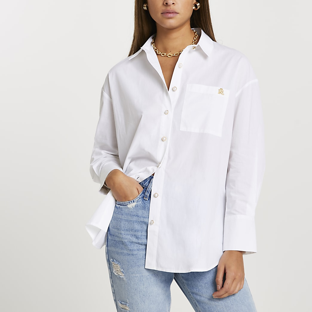 White long sleeve boyfriend shirt