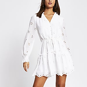 White long sleeve broderie mini smock dress
