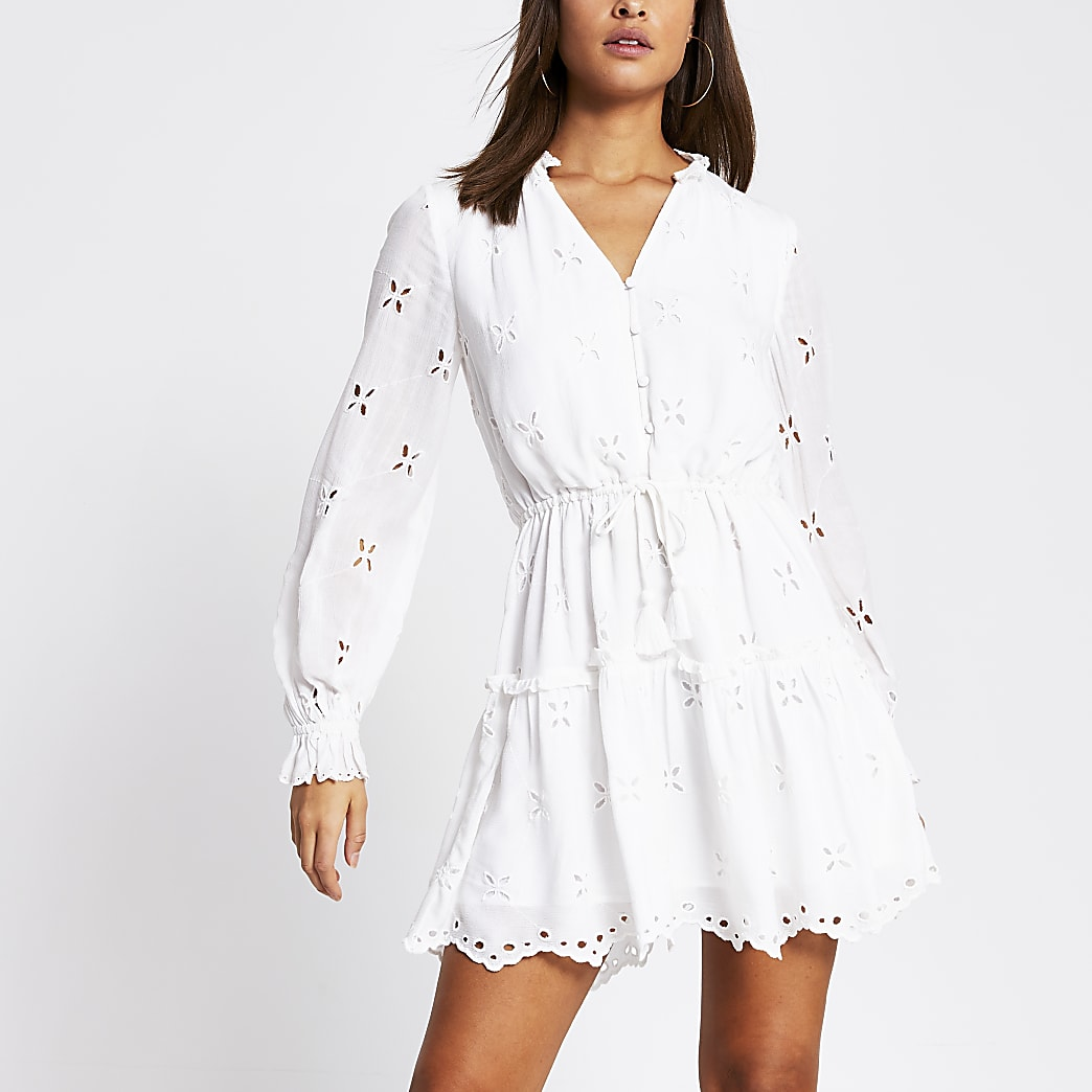White long sleeve broderie mini smock dress