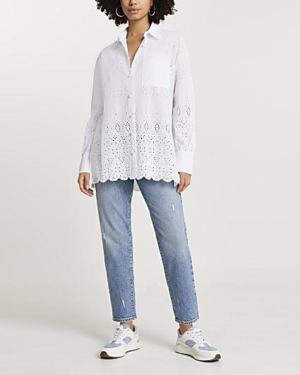 White long sleeve broderie oversized shirt