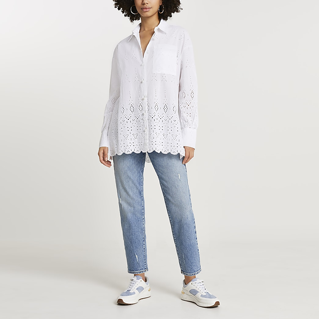 White long sleeve broderie oversized shirt