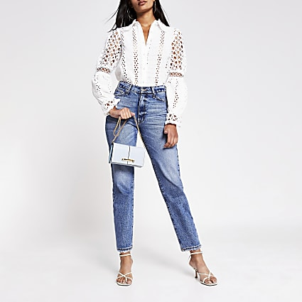 White Long Sleeve Broderie Shirt