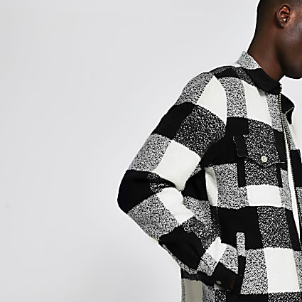 White long sleeve check overshirt jacket