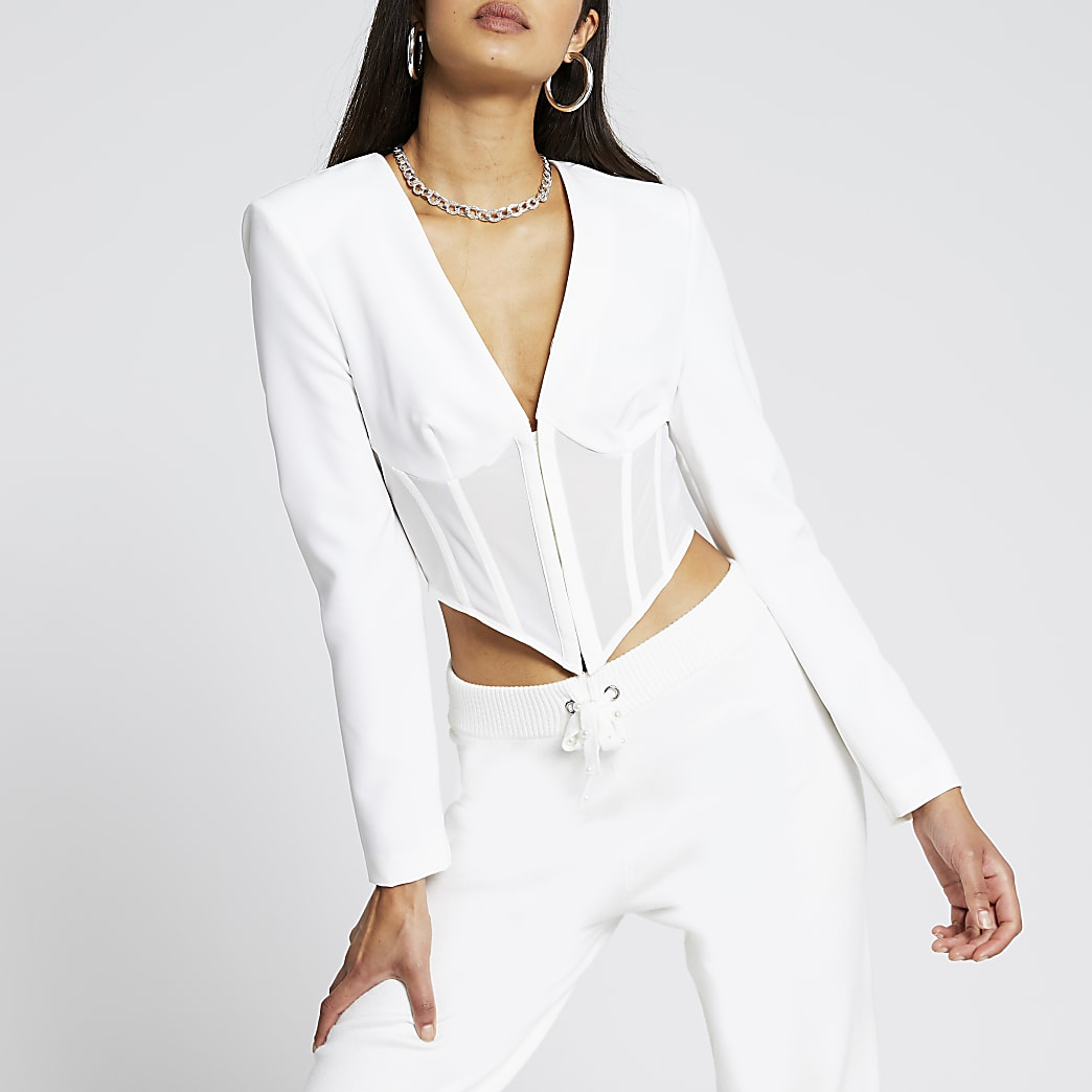 White long sleeve corset mesh top