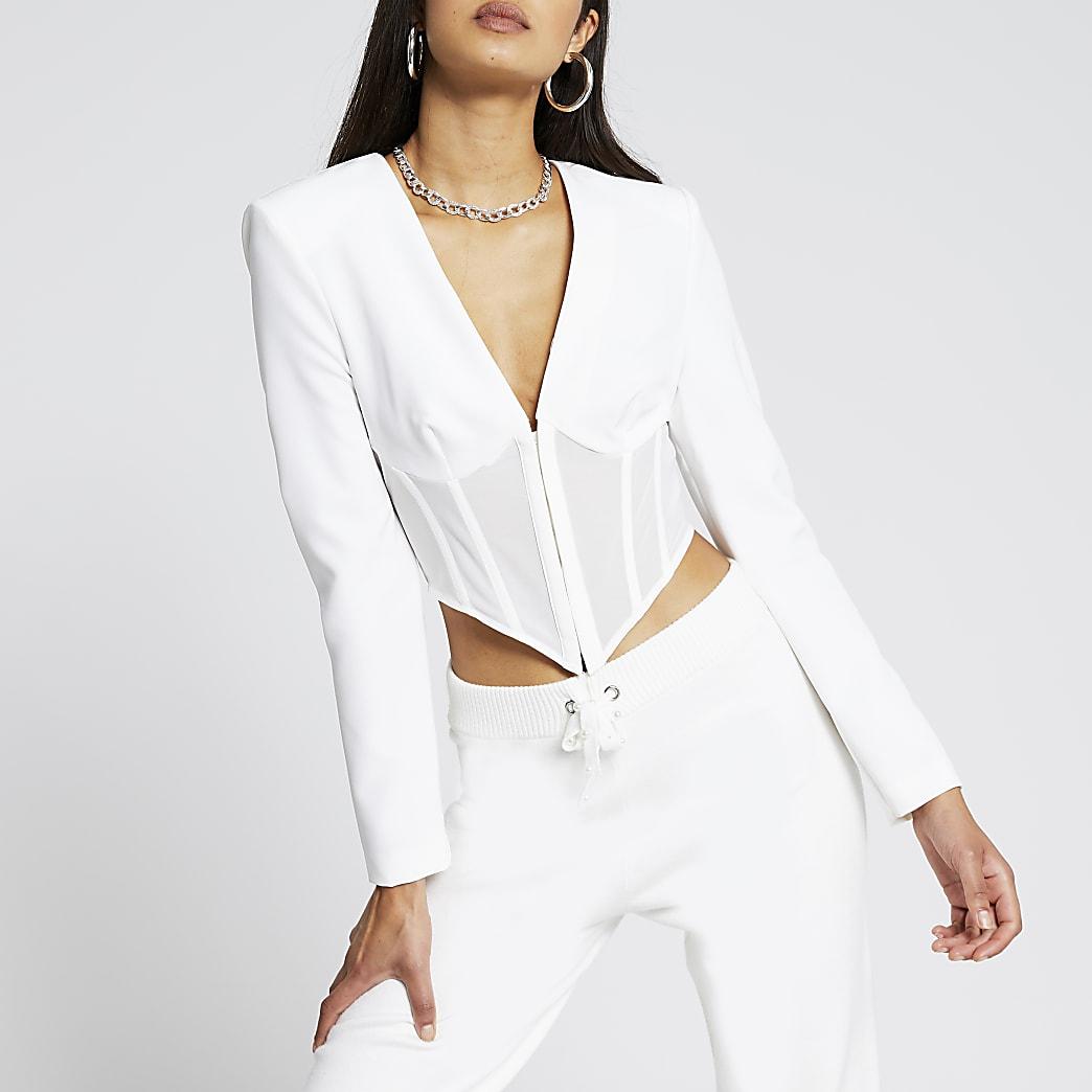 White long sleeve corset mesh top