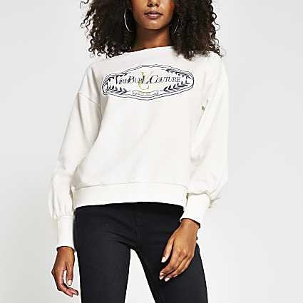 White long sleeve 'Couture' print sweatshirt