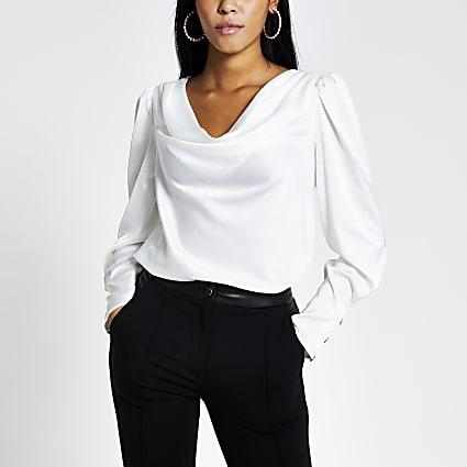 White long sleeve cowl neck satin blouse