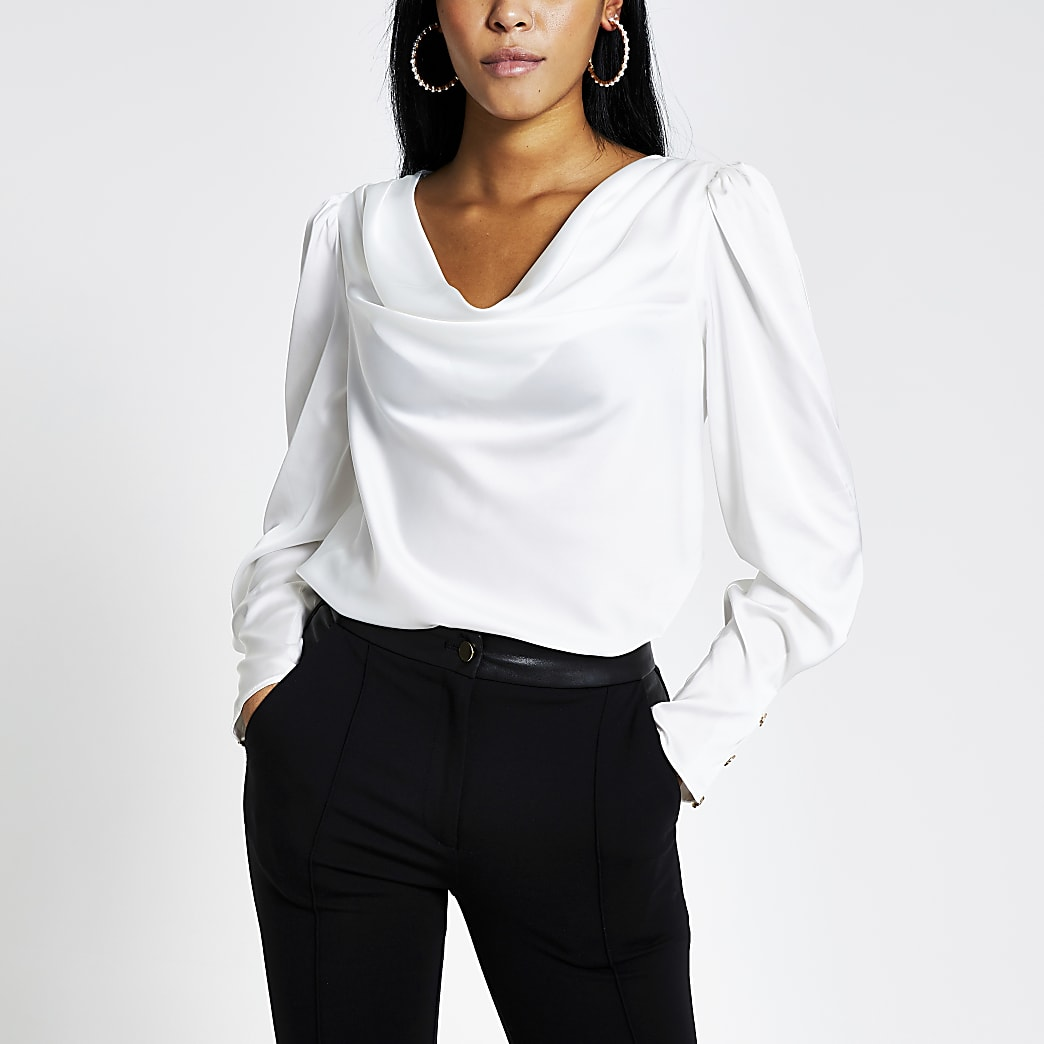 White long sleeve cowl neck satin blouse