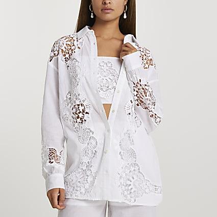 White long sleeve cutwork shirt