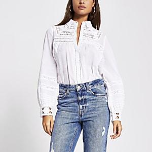 Langärmelige Bluse in Weiß mit Stickerei