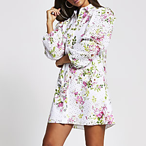 White long sleeve floral broderie mini dress