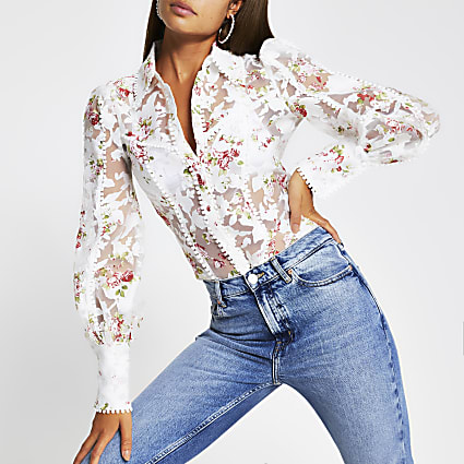 White long sleeve floral fitted shirt