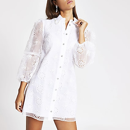 White long sleeve floral organza mini dress