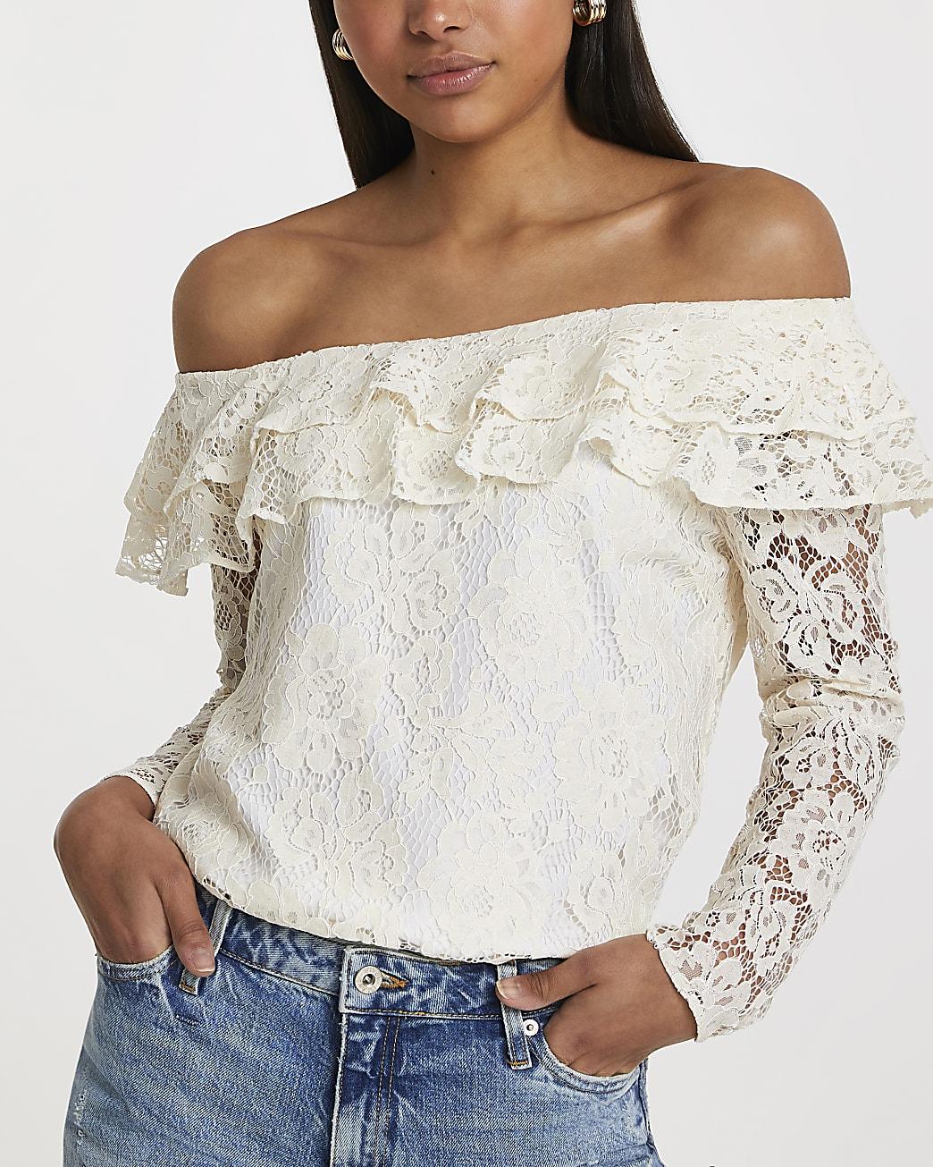 White long sleeve frill bardot top