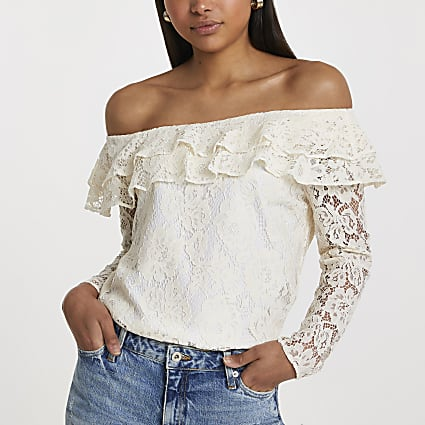 White long sleeve frill bardot top
