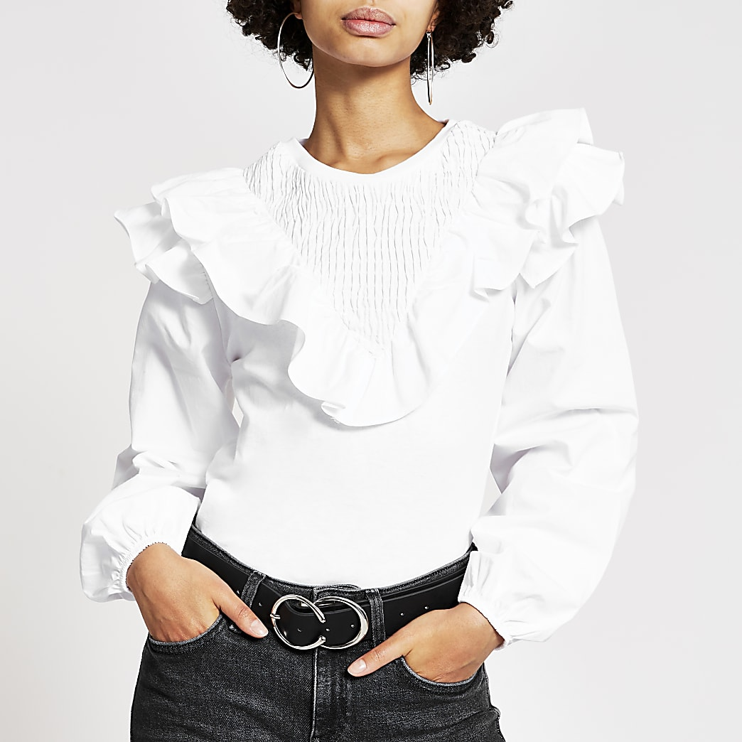 White long sleeve frill front blouse