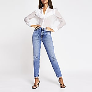 White long sleeve frill front shirt