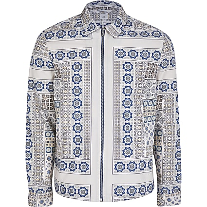 White long sleeve geometric print overshirt
