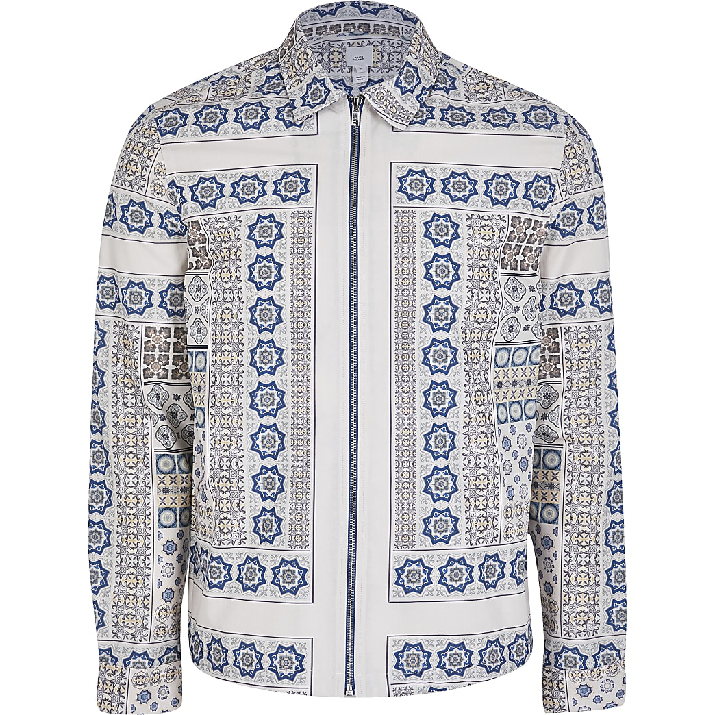 White long sleeve geometric print shacket