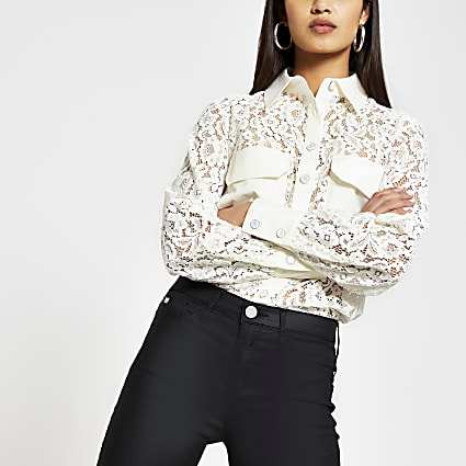 White long sleeve lace pocket detail shirt
