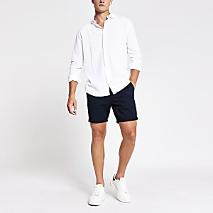 White long sleeve linen regular fit shirt