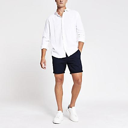 White long sleeve linen regular fit shirt