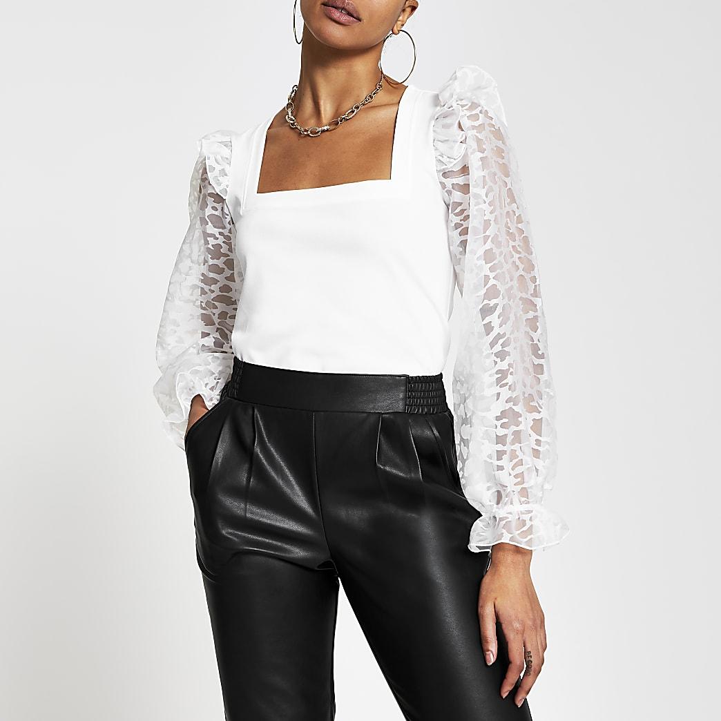 White long sleeve mesh sequin top