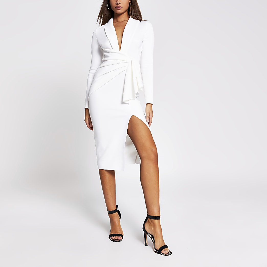 White long sleeve midi bodycon dress