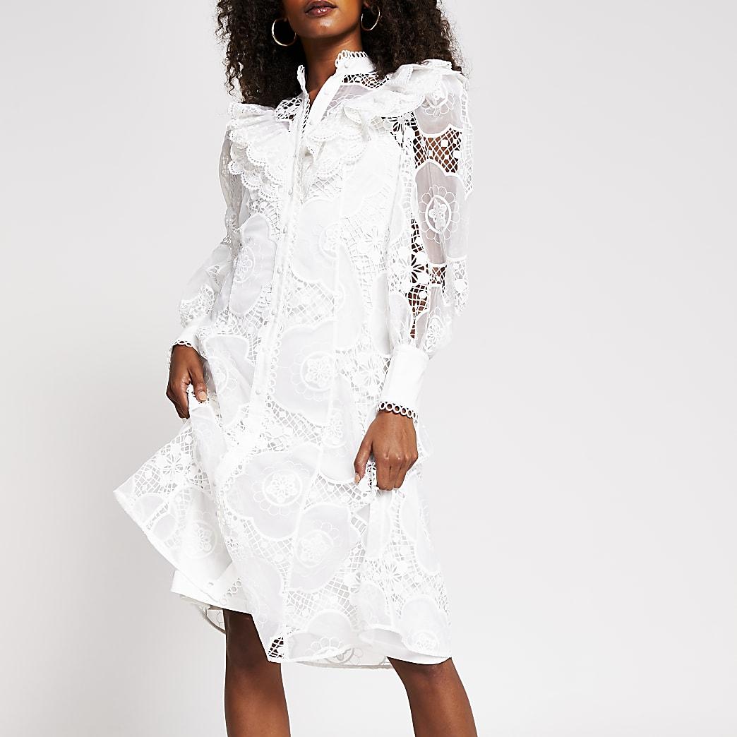 White long sleeve midi lace shirt dress