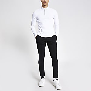White long sleeve muscle fit rib polo shirt