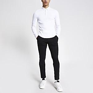 Polo côtelé blanc ajusté à manches longues