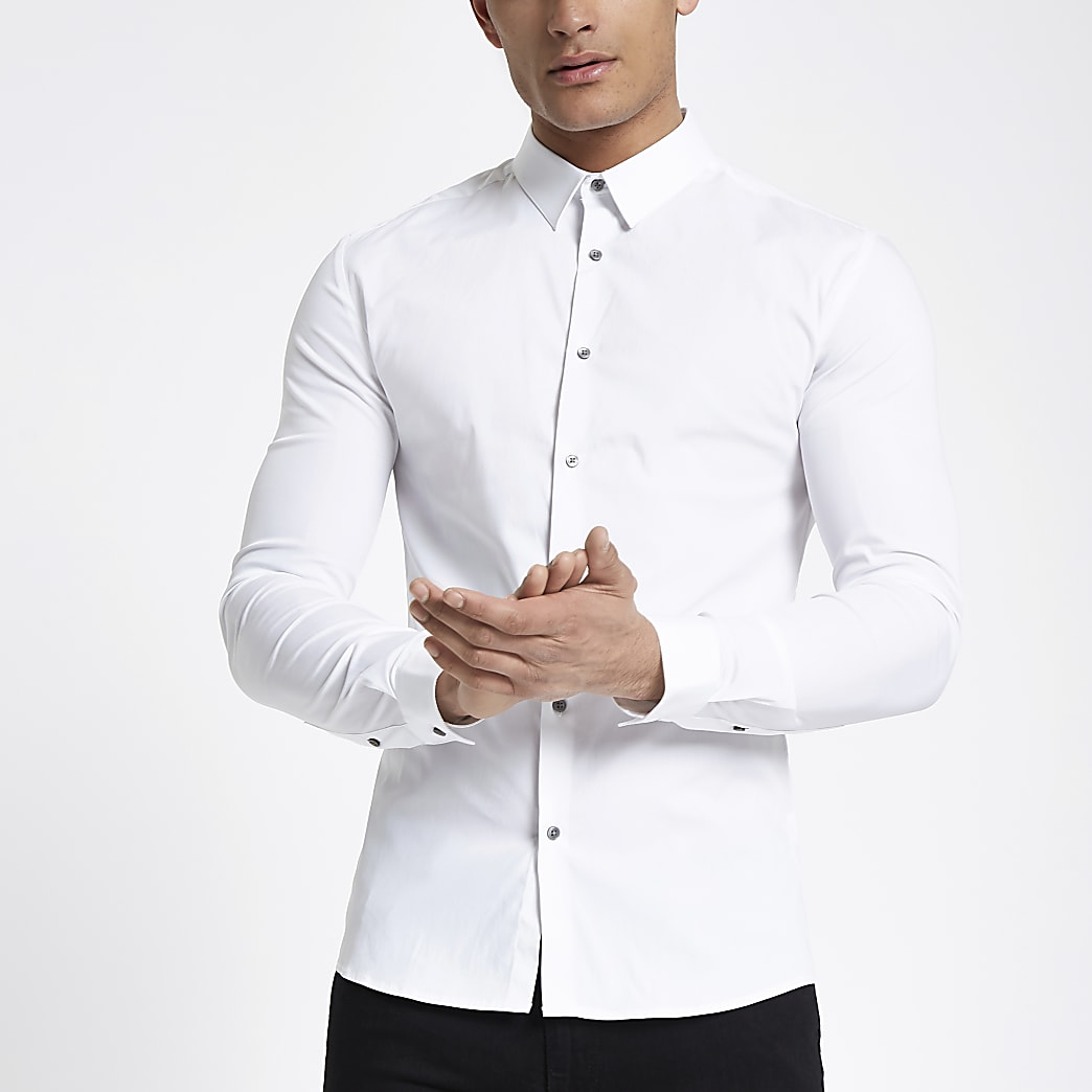 White long sleeve muscle fit shirt
