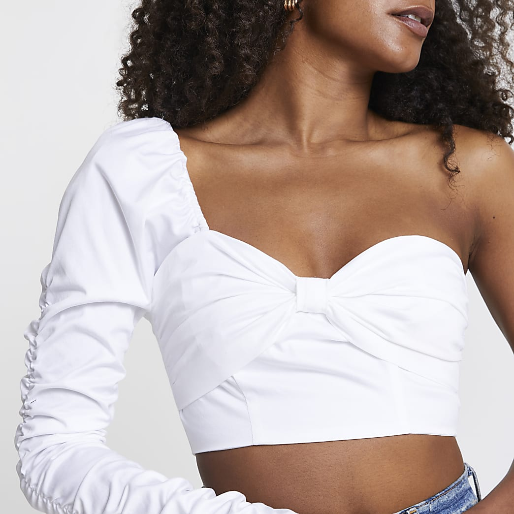 White long sleeve one shoulder bow crop top