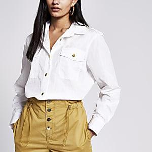 Langärmeliges Oversized-Hemd in Weiß