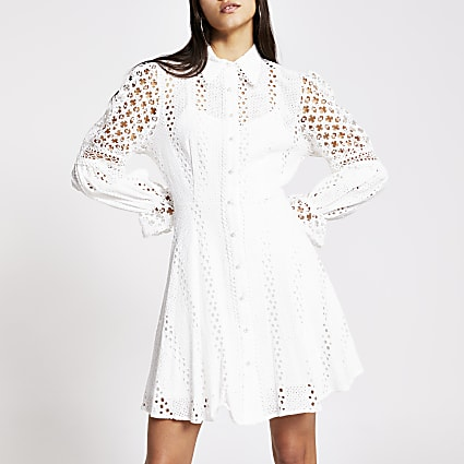 White long sleeve pearl button broderie dress