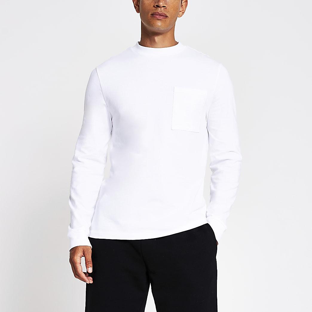 White long sleeve pocket slim fit t-shirt
