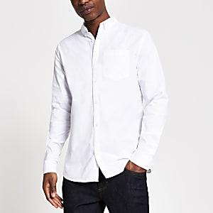 Weißes, langärmeliges Regular Fit Oxford-Hemd