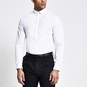 Langärmeliges Regular Fit Hemd in Weiß