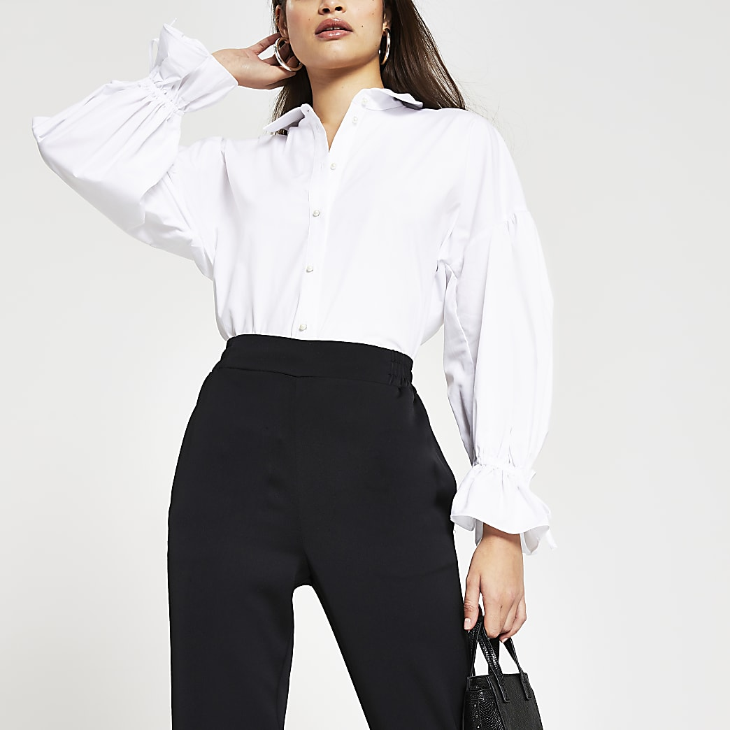 White long sleeve ruched detail poplin shirt