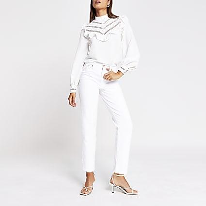 White Long Sleeve Ruffle Top