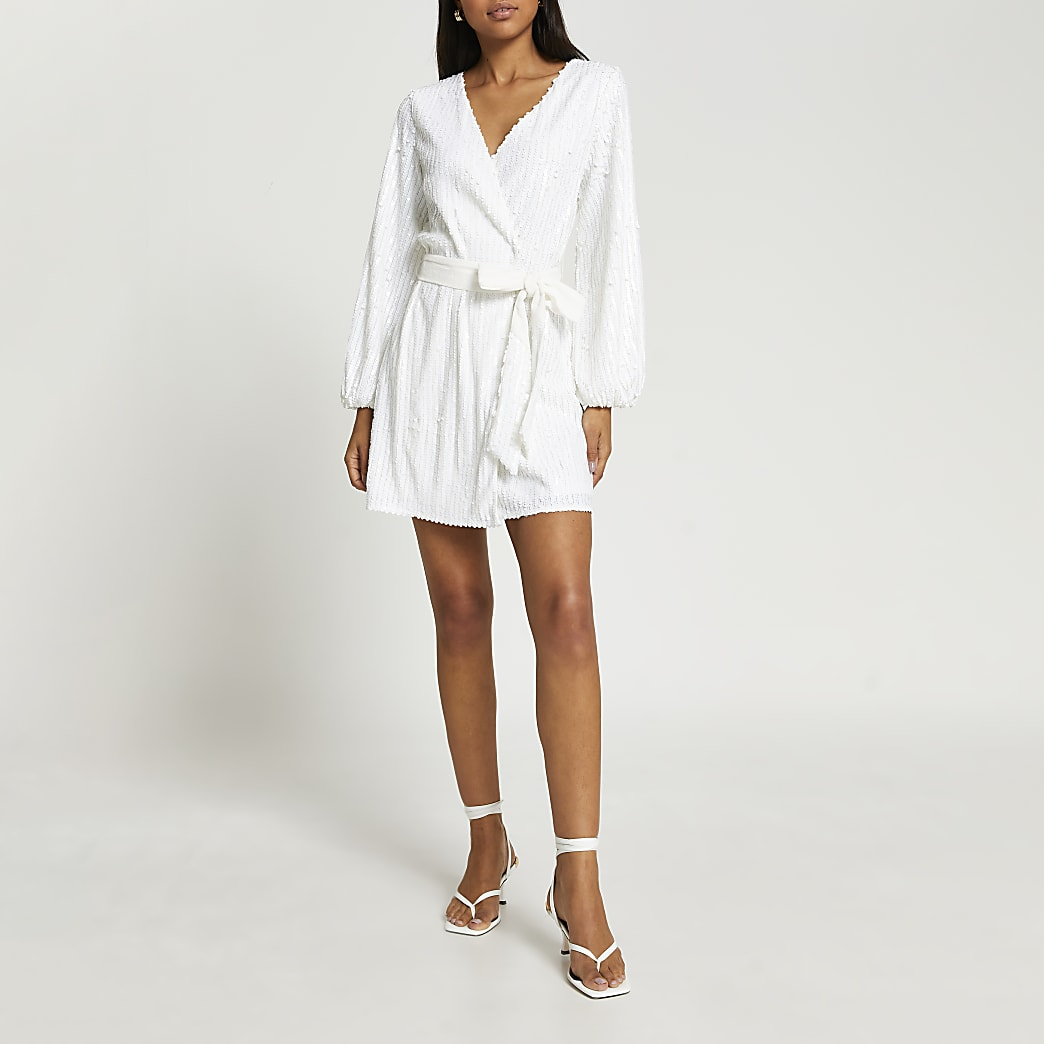White long sleeve sequin wrap dress