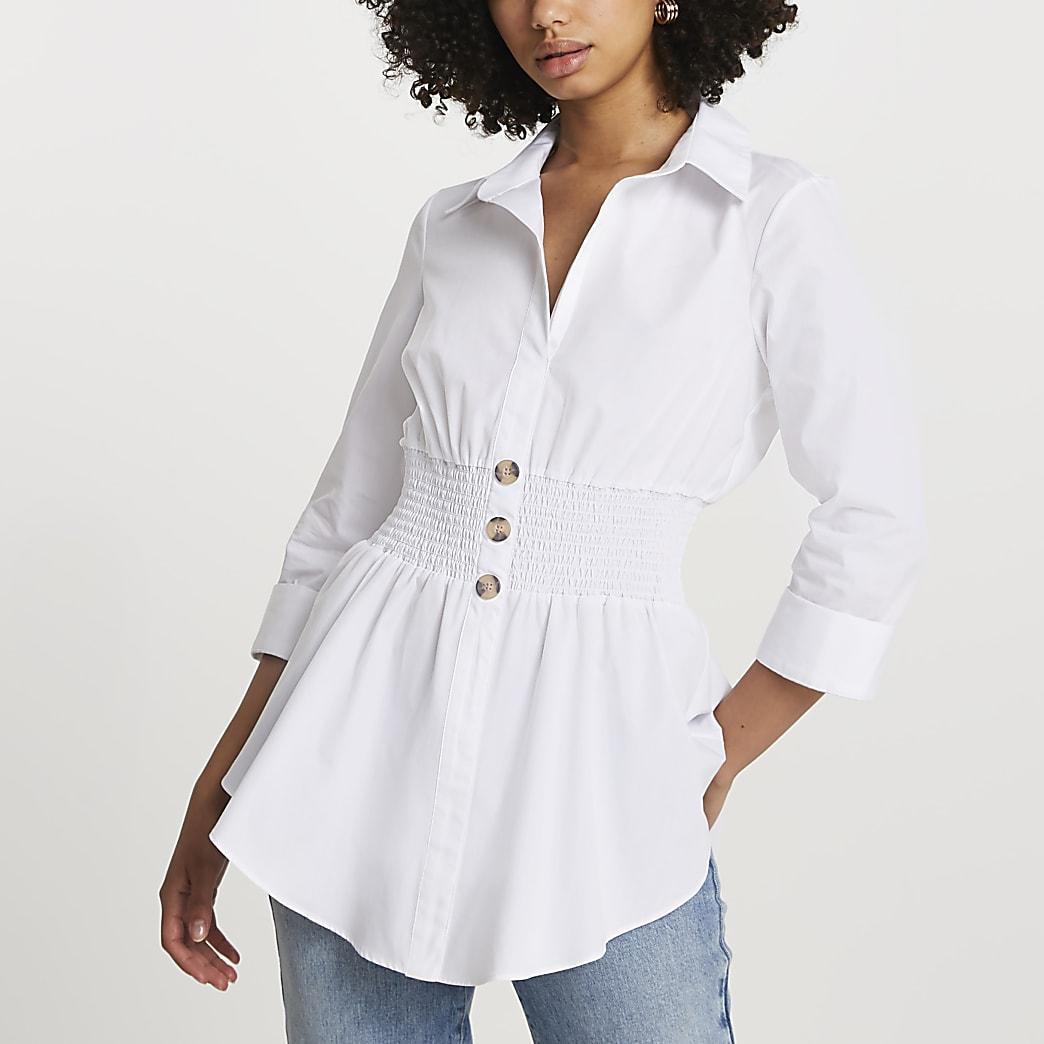 White long sleeve shirred waist shirt