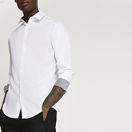 White long sleeve slim fit collared shirt