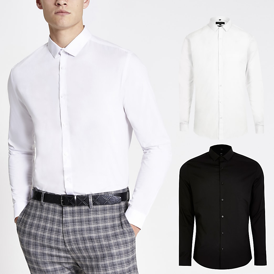 White long sleeve slim fit shirt 2 pack