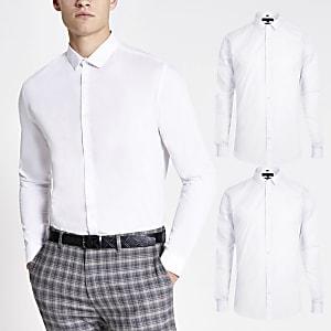 Weißes, langärmeliges Slim Fit T-Shirt, 2er-Set
