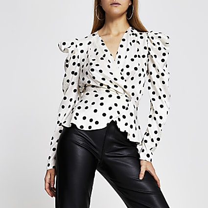 White long sleeve spot print wrap top