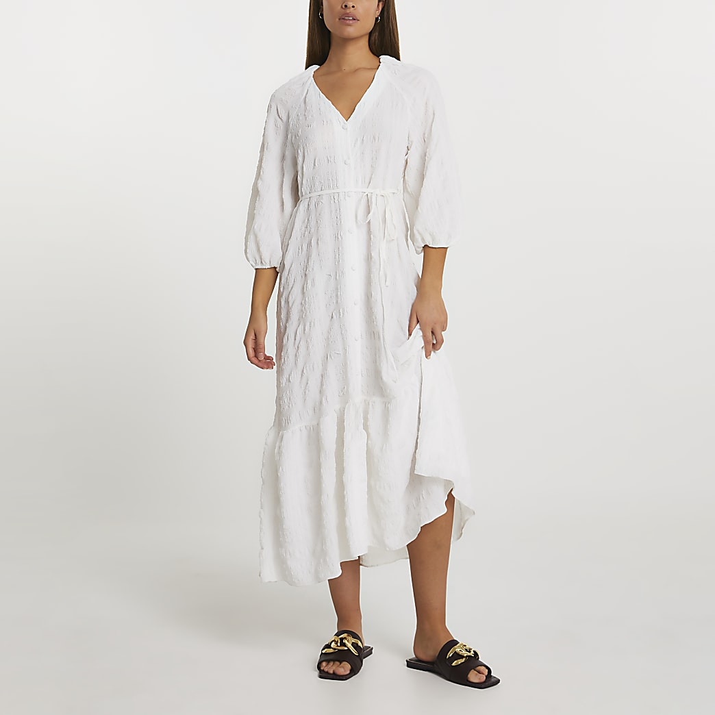 White long sleeve textured smock dress