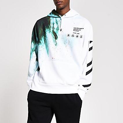 White long sleeve tie dye print hoodie