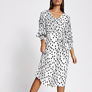White long sleeve tie waist print midi dress